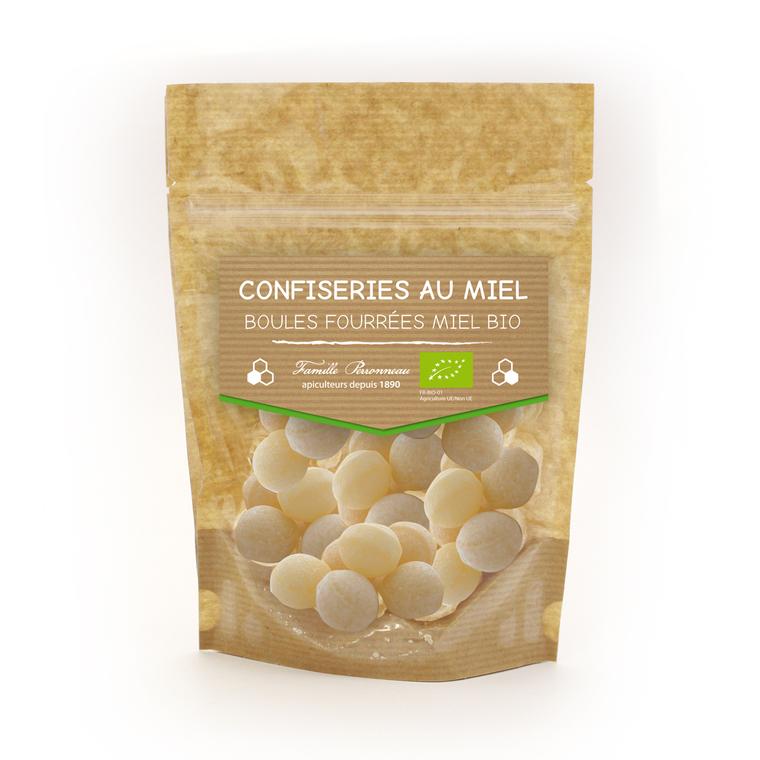 Bonbons en boule fourrée au miel bio en sachet de 120 g 406812