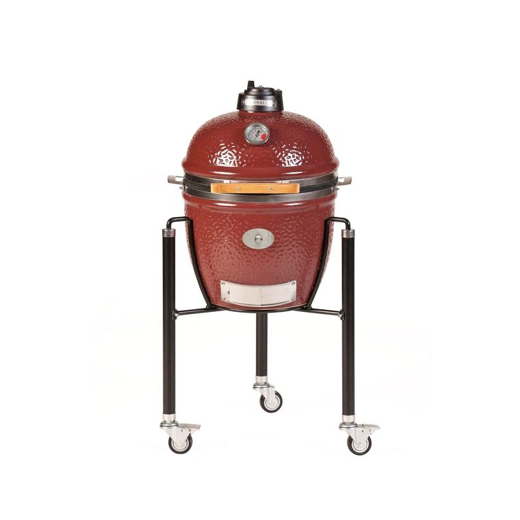 Barbecue fumoir monolith junior rouge avec charriot en métal 407441