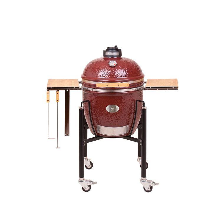 Barbecue fumoir monolith classic rouge avec charriot 85 x 76 x 120 cm 407442