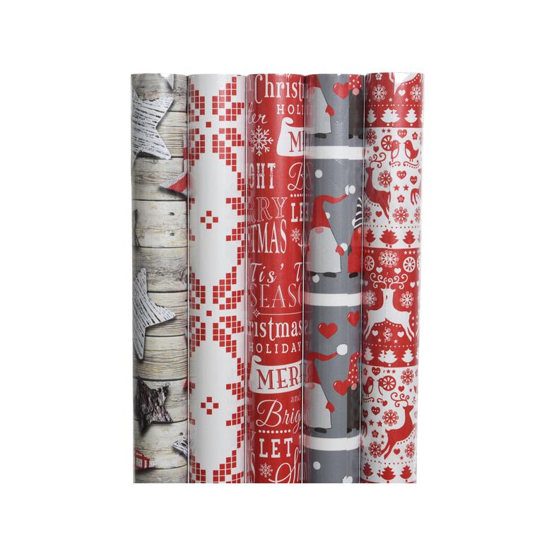 papier cadeau nordiques rouge - 70x200 cm 407896