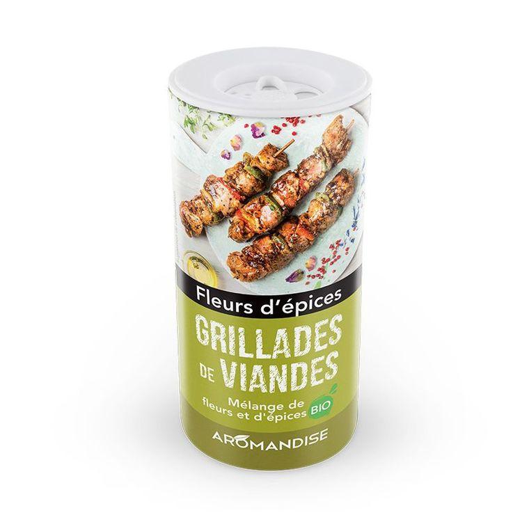 Fleurs d'épices bio pour grillades de viande en tube poudreur de 60 g 408486