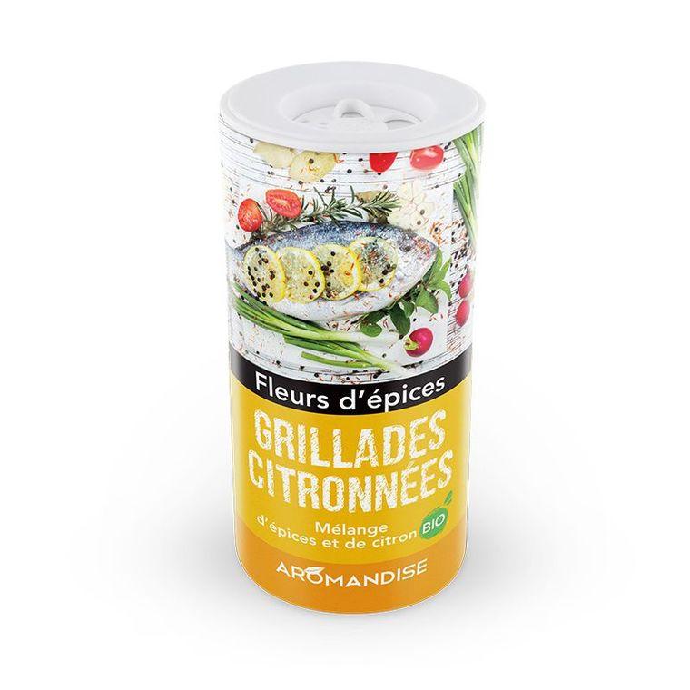 Fleurs d'épices bio pour grillades citronnées en tube poudreur de 55 g 408488