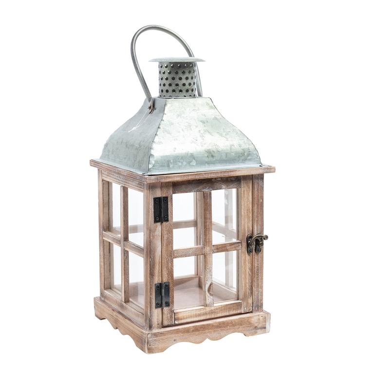 Lanterne en épicéa avec toit en zinc grand modèle 28x28x57 cm 409263