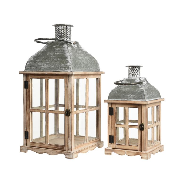 Lanterne en épicéa avec toit en zinc petit modèle 20x20x39 cm 409264