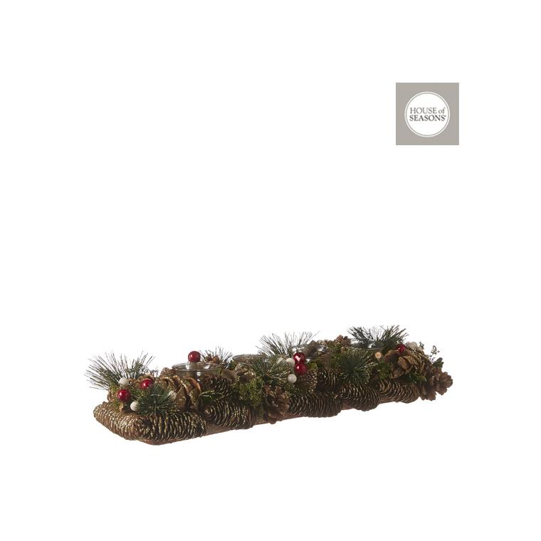 Décoration de table porte-bougie verte – 54 cm 409528