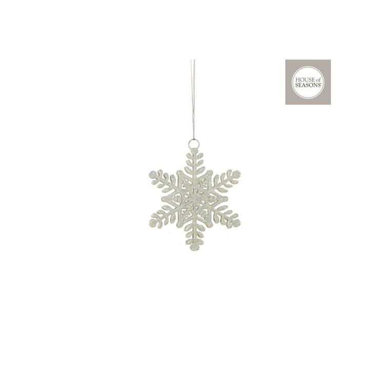 Ornement de Noël à suspendre Flocon de neige blanc 10x10 cm 409542