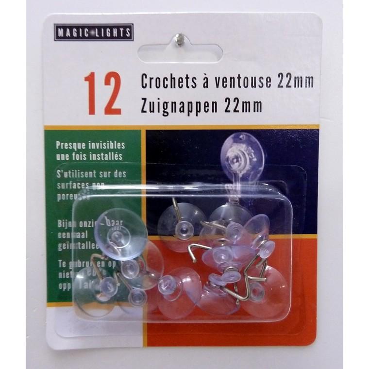 Ventouses à crochet en plastique x 12 Ø 22 mm 409712