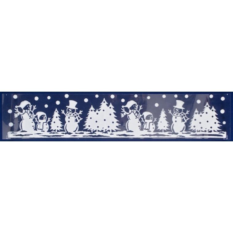 Etiquette bonhommes de neige et sapins - 12,5x58,5 cm 409722