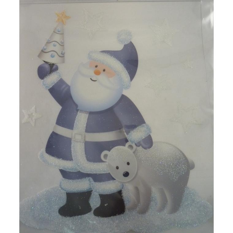 Etiquette Père Noël avec ours pailleté - 28,5x34,5 cm 409726