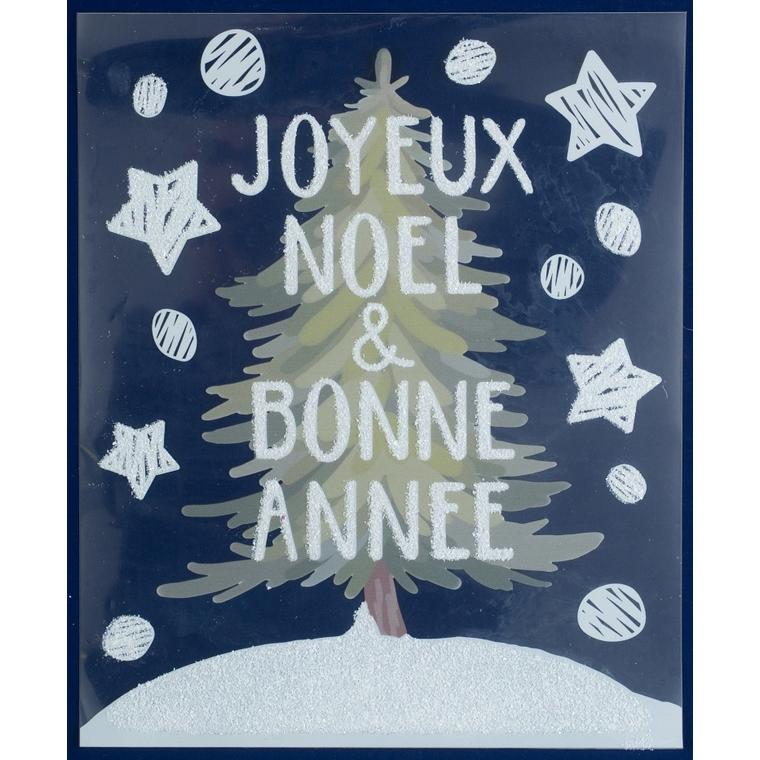 Etiquette sapin de Noel pailleté - 28,5x34,5 cm 409728
