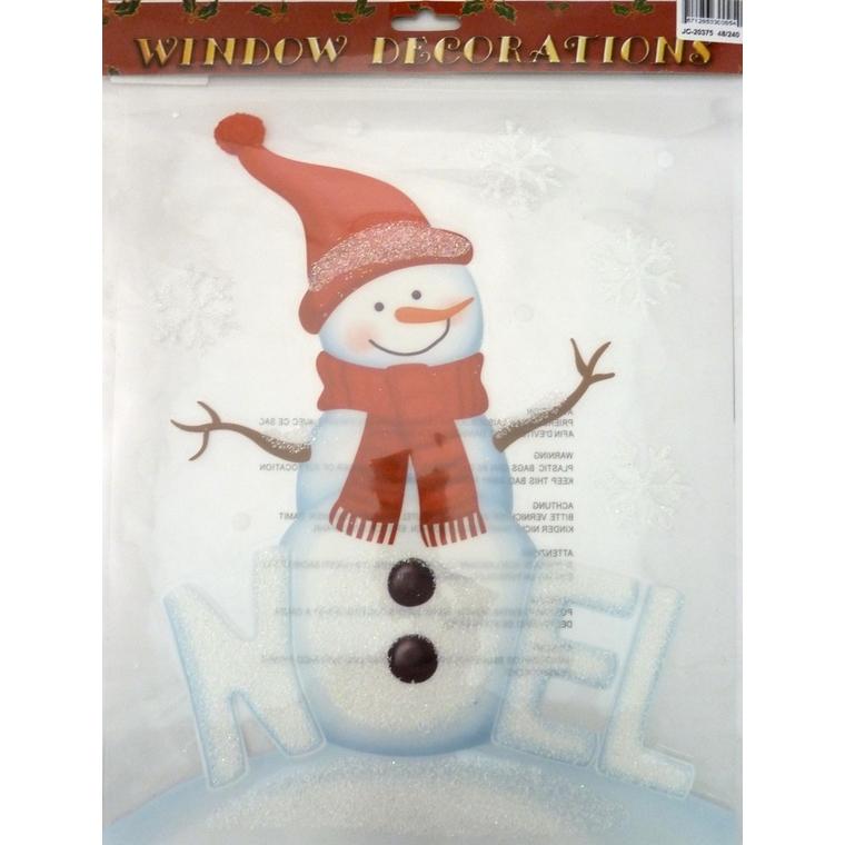 Etiquette bonhomme de neige pailleté - 28,5x34,5 cm 409729