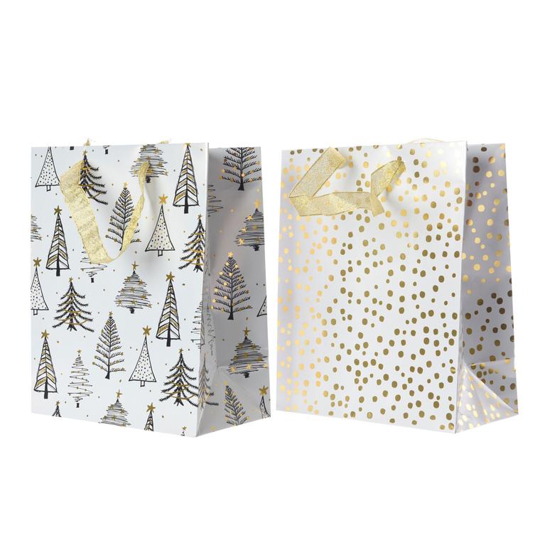 Sachets cadeaux en papier blanc et or – petite taille 410656