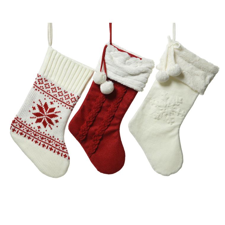 Chaussette de Noël à suspendre blanche et/ou rouge 410849