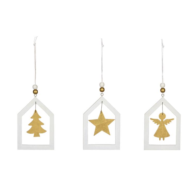 Décoration de Noël  10 cm (disponible en blanc et or) 412609