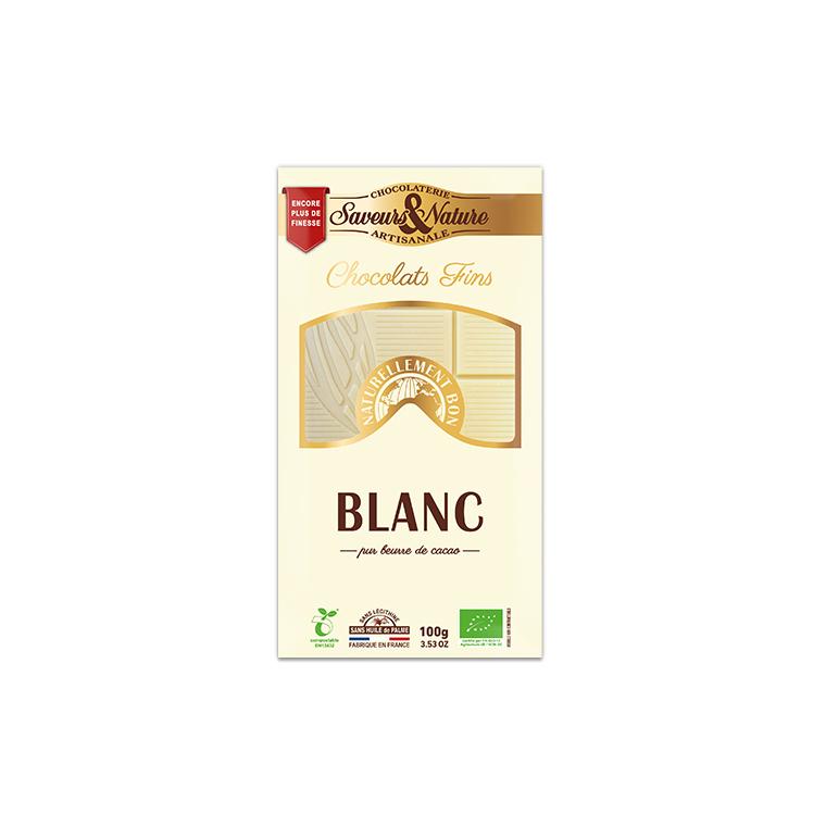 Tablette de chocolat blanc bio en étui de 100 g 413462