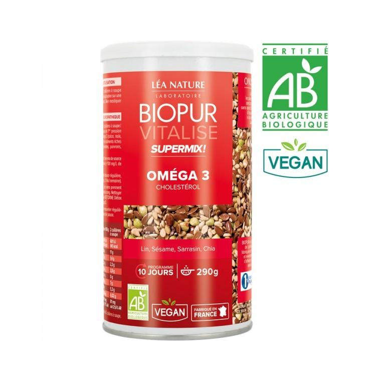 Supermix oméga 3 cholestérol vitalise bio en boite 290 g 413672
