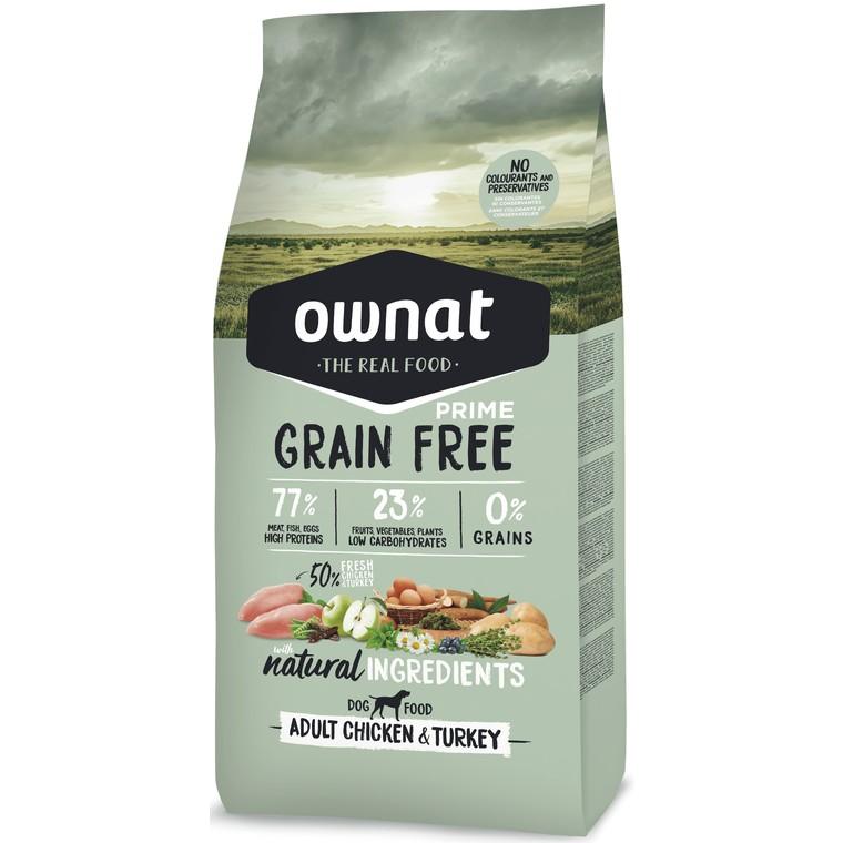 Croquettes pour chien Ownat grain free prime Adult Poulet Dinde 14 kg 413866