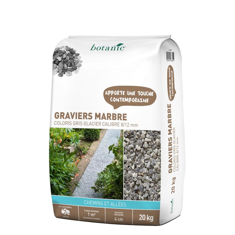 Graviers de marbre gris glacier calibre 8 à 12 mm en sac de 20 kg 415875