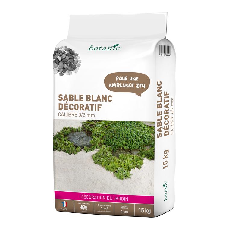 Sable blanc décoratif pour jardin de calibre 0 à 2 mm en sac de 15 kg 416029