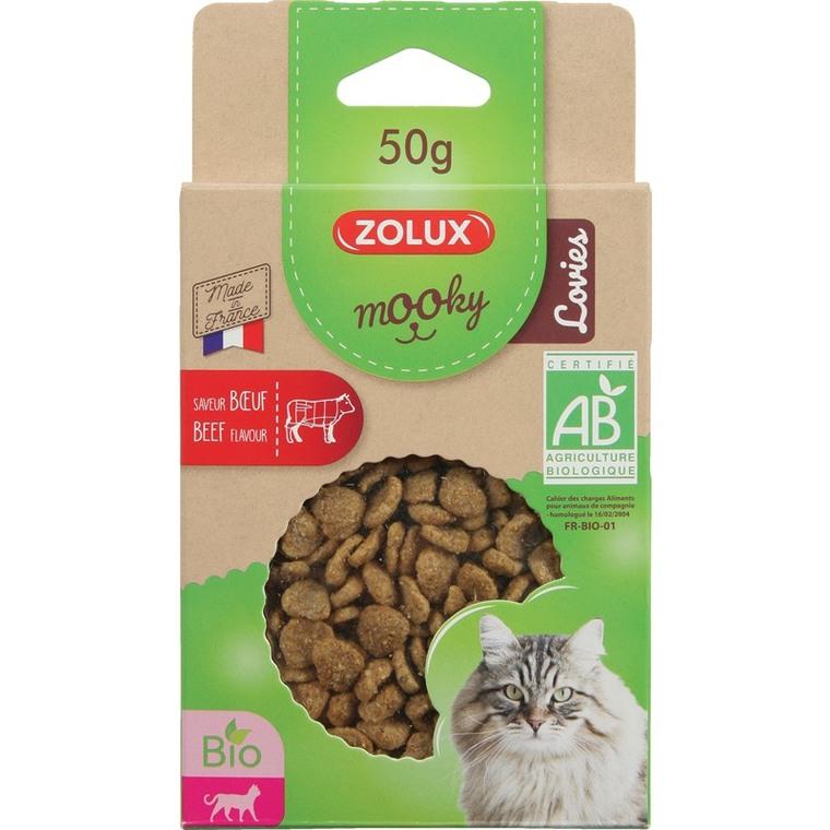 Friandises pour chat Mooky bio Lovies au boeuf en étui de 50 g 416032