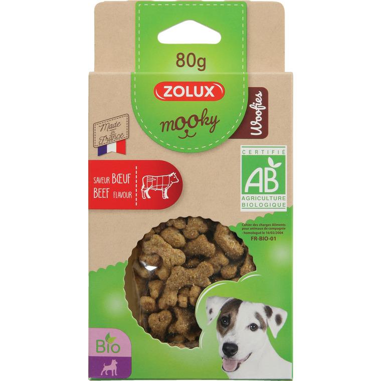 Friandises pour chien Mooky bio woofies au boeuf en étui de 80 g 416055