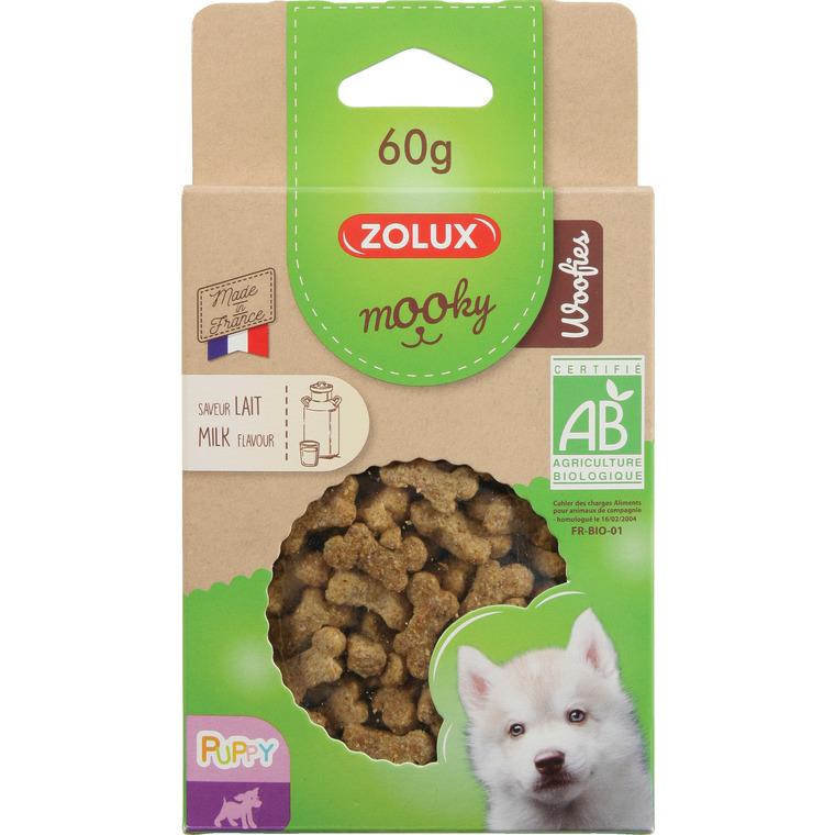 Friandises pour chiot Mooky bio woofies puppy au lait en étui de 60 g 416057