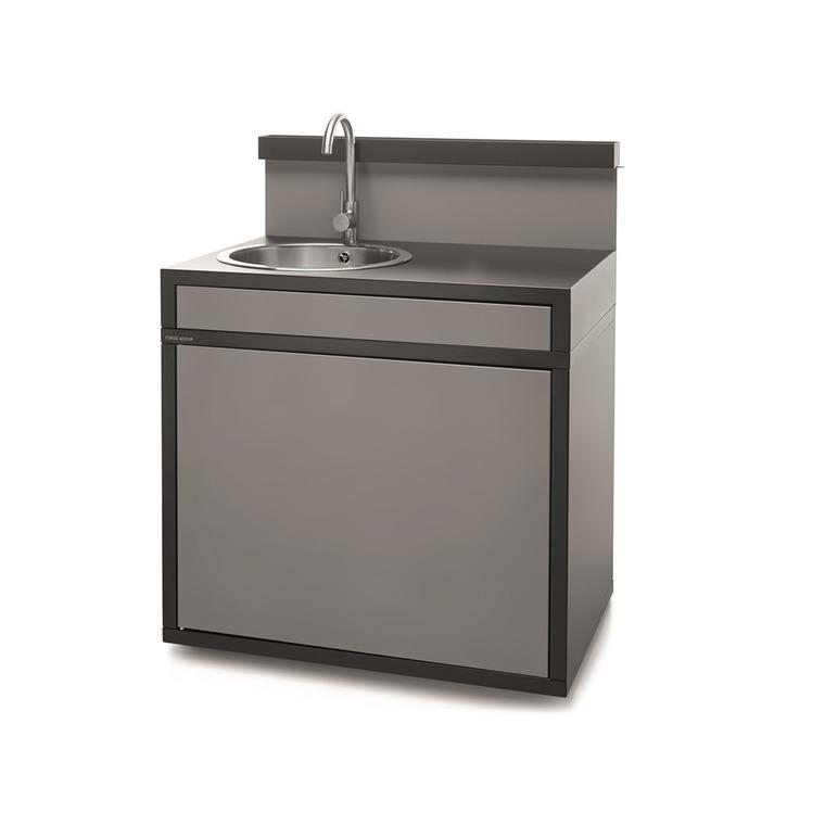 Support évier en acier fermé noir et gris de 90 x 64,5 x 112,8 cm 416994