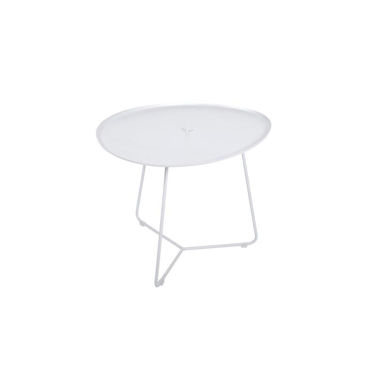 Table basse cocotte en aluminium coloris blanc coton de 44 x 55 x 43 cm 44,5X55X43,5 417811