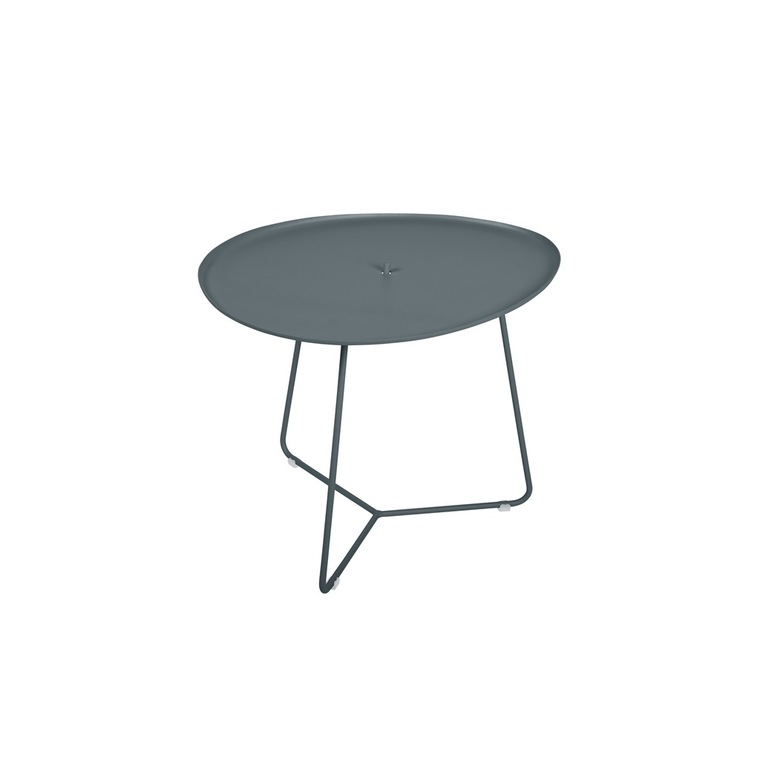 Table basse cocotte en aluminium coloris gris orage de 44 x 55 x 43 cm 417813