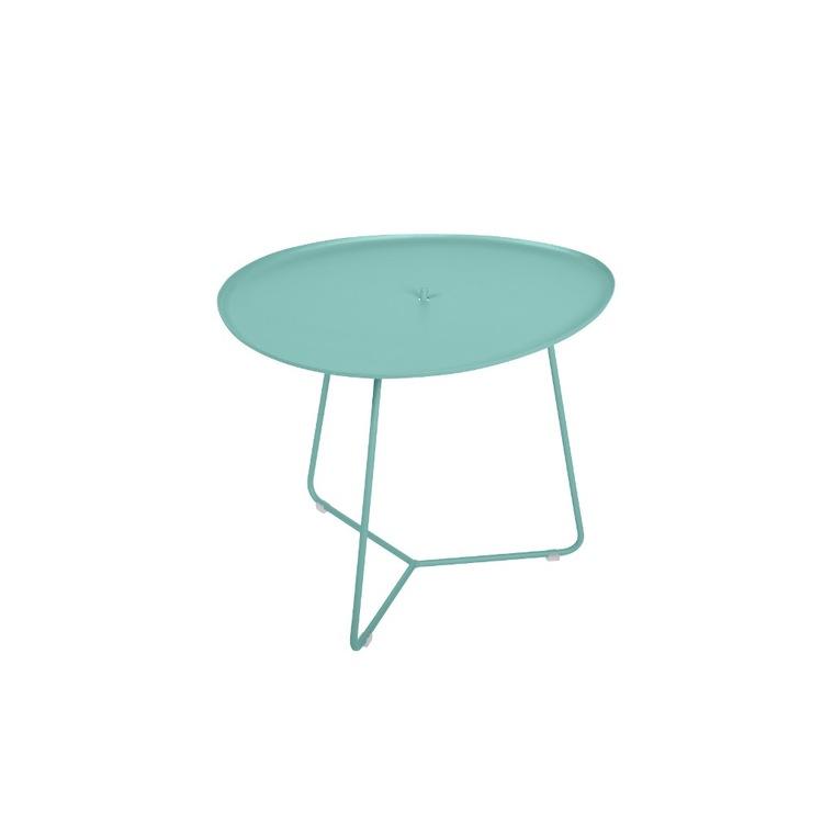 Table basse cocotte en aluminium coloris bleu lagune de 44 x 55 x 43 cm 417819