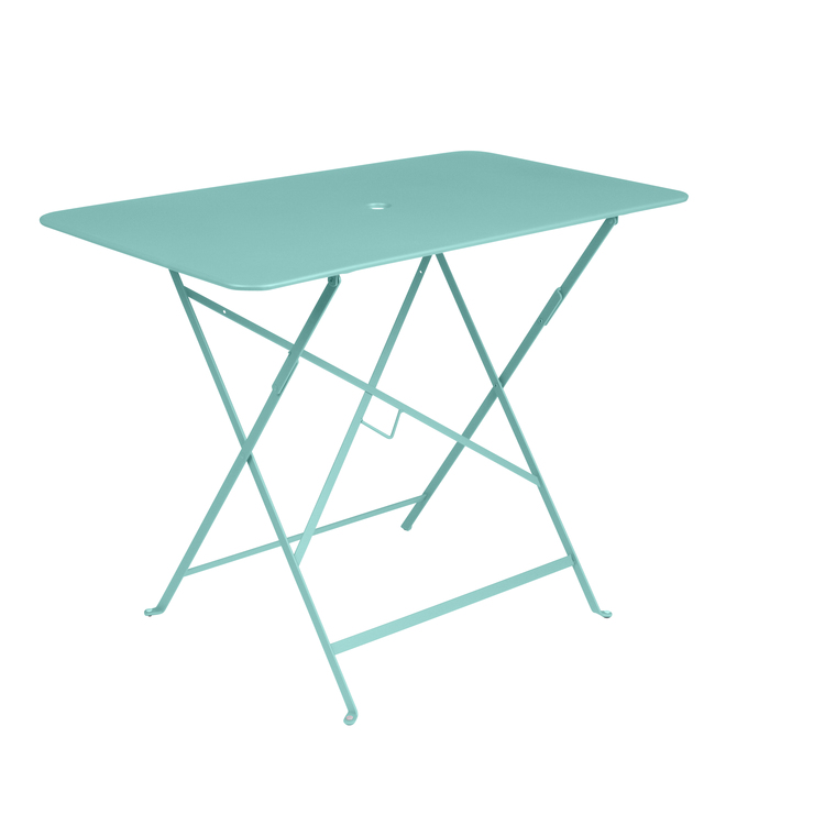 Table pliante bistro en acier coloris bleu lagune de 95 x 57 x 74 cm 418034