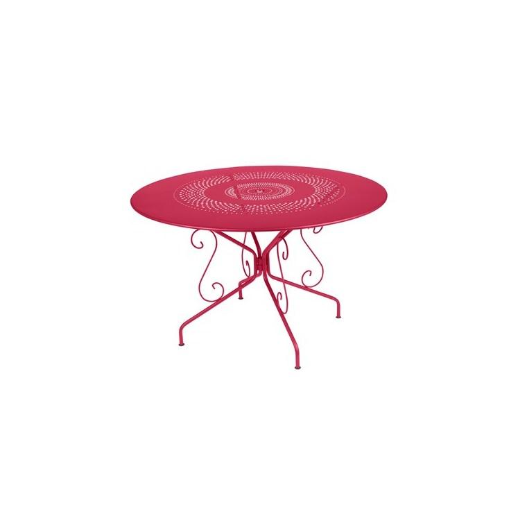 Table Montmartre Fermob en acier coloris rose praline Ø 117 cm 418046