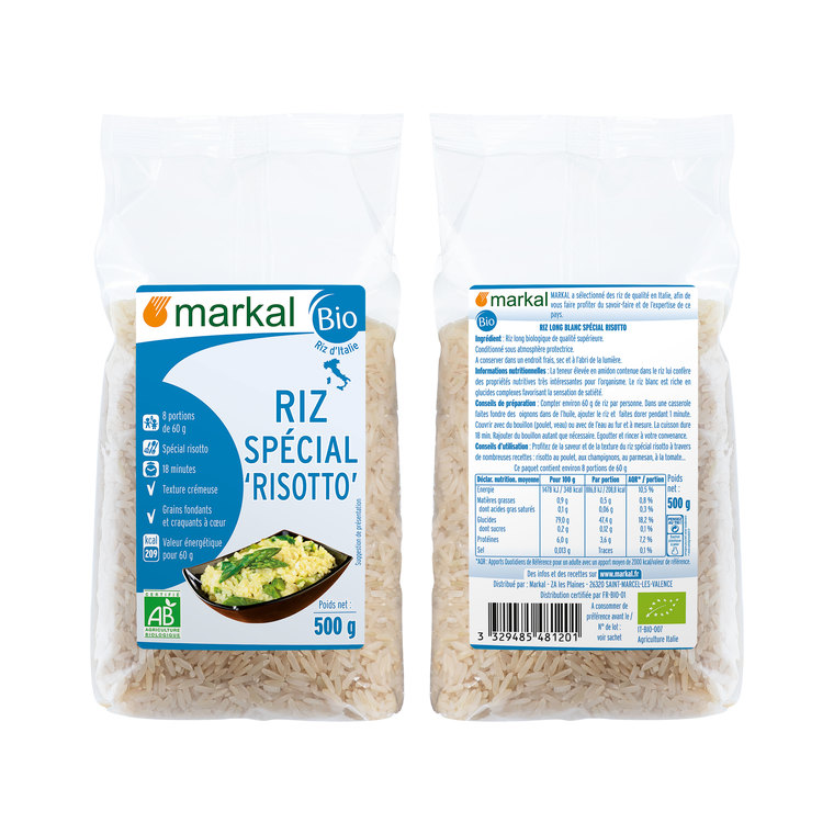 Riz long blanc spécial risotto bio en sachet de 500 g 418318