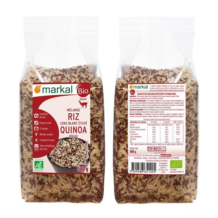 Mélange de riz long blanc étuvé et quinoa rouge bio en sachet 500 g 418320