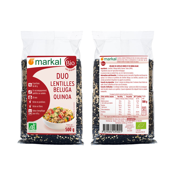 Duo de lentilles beluga et de quinoa bio en sachet de 500 g 418322