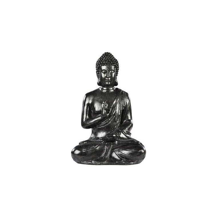 Bouddha hindou MM  béton coulé ton ciré noir H 40,5 cm 419881