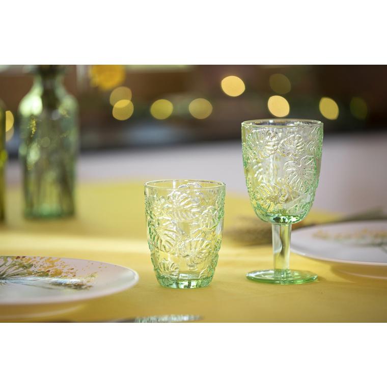 Verre à pied vert motif feuille en verre transparent H 16,5 x Ø 8,5 cm 420941