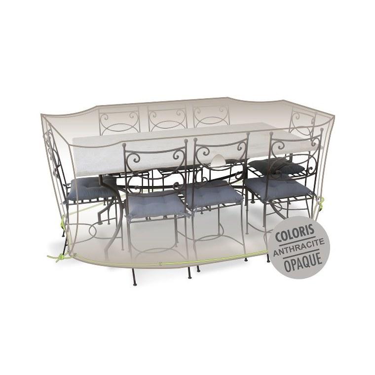Housse table rectangulaire + chaises 8-10 pers. de coloris anthracite 427473