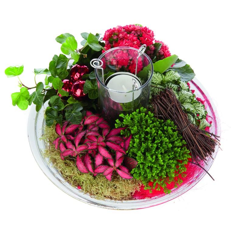 Composition florale de Noël H 25 cm avec verrerie Ø 25 cm