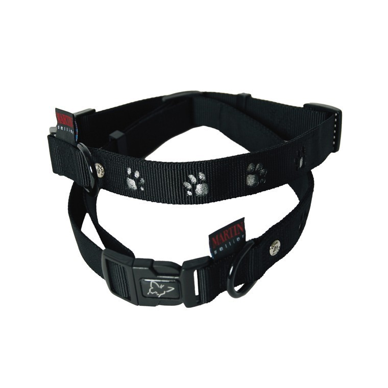 Collier chien 30-45cm noir forme pattes 16mm 435743