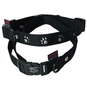 Collier chien pattes 25mm / 45-65cm noir