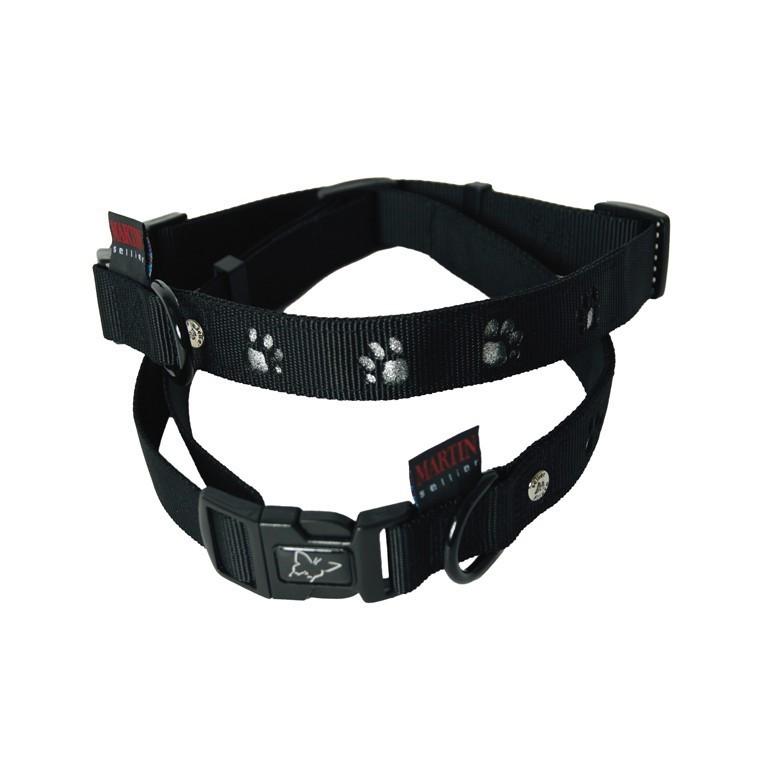 Collier chien pattes 45-65cm noir / 25mm