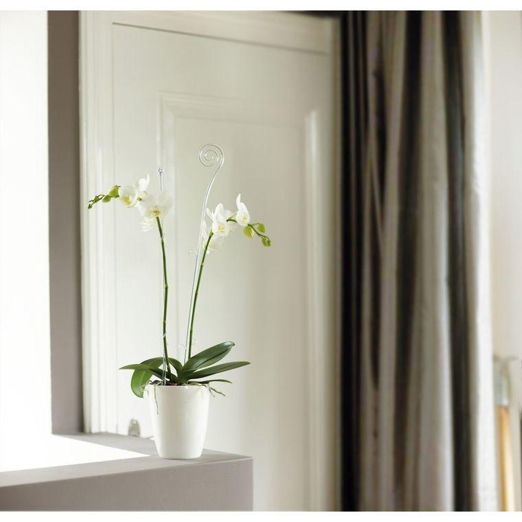 Cache pot 12.5cm Brussel Orchidées Haut Diamond Elho blanc 440325