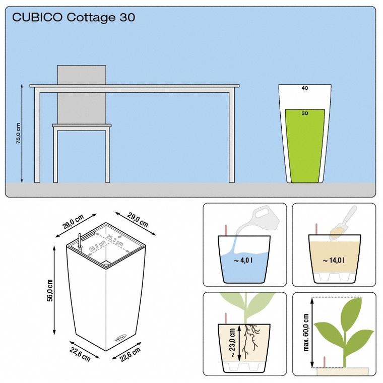 Pot 30cm Cubico Cottage kit complet D.30x H56 cm Lechuza 441345