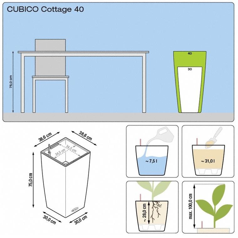 Pot 40cm Cubico Cottage 40cm kit complet D.40x H75 cm Lechuza 441349