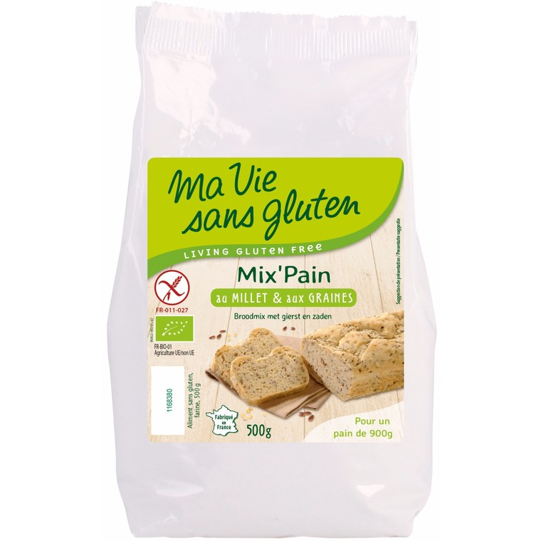 Préparation pour pain bio au millet et graines 500 g 44147