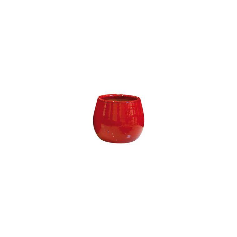 Pot Cancale coquelicot en terre cuite émaillée H 27 x Ø 25 cm 442223