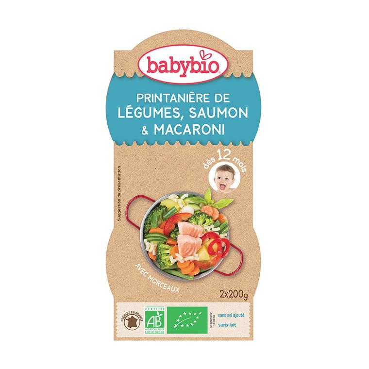 Menu du jour Légumes Saumon Pâtes bio dès 12 mois - 2 x 200 gr 45214