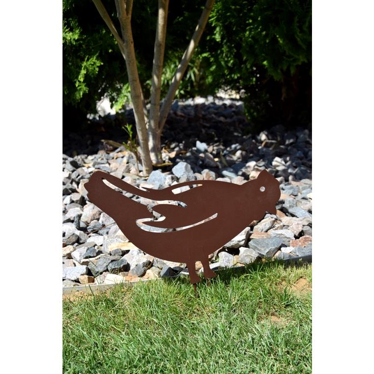 Statue de jardin à piquer poule en fer vieilli 452450