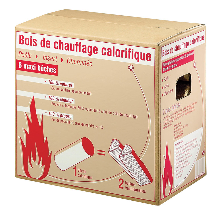 Bois de chauffage calorifique 6 bûches
